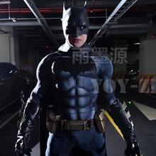 YOY ZENTAI גבוהה באיכות שרירים ריפוד באטמן תלבושות עם לוגו חדש באטמן קוספליי תלבושות עם שרירים באטמן בגד גוף
