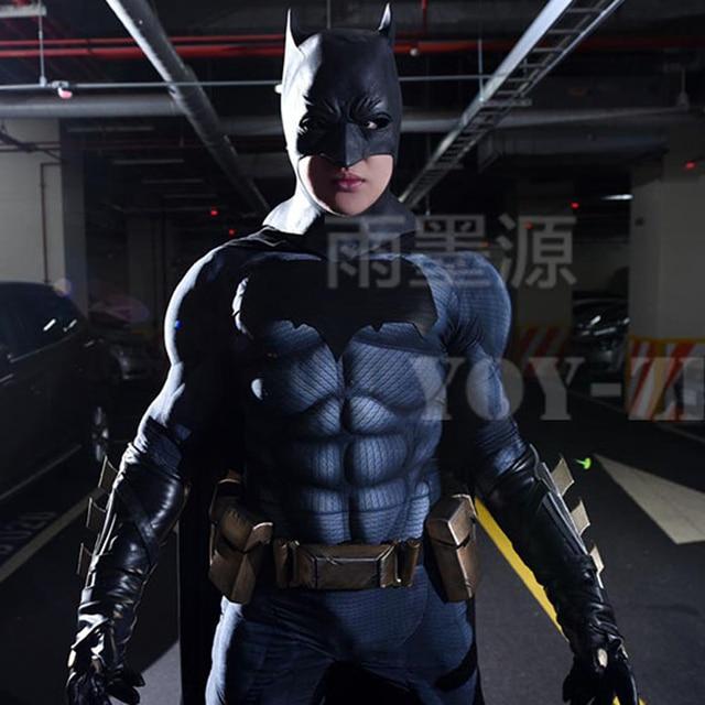 YOY ZENTAI عالية الجودة العضلات الحشو باتمان زي مع شعار جديد باتمان تأثيري حلي مع العضلات باتمان ارتداءها