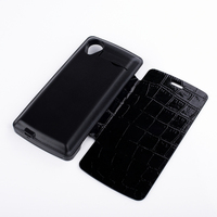 3800mAh Black Crocodile Leather Flip Case External Backup Battery Charger Cover Capa For LG Google Nexus