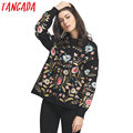 Tangada Women Embroidery Sweaters and Pullovers Jumper Knit Winter Oversized Fashion Knitwear Floral Batwing Sleeve Pull Femme