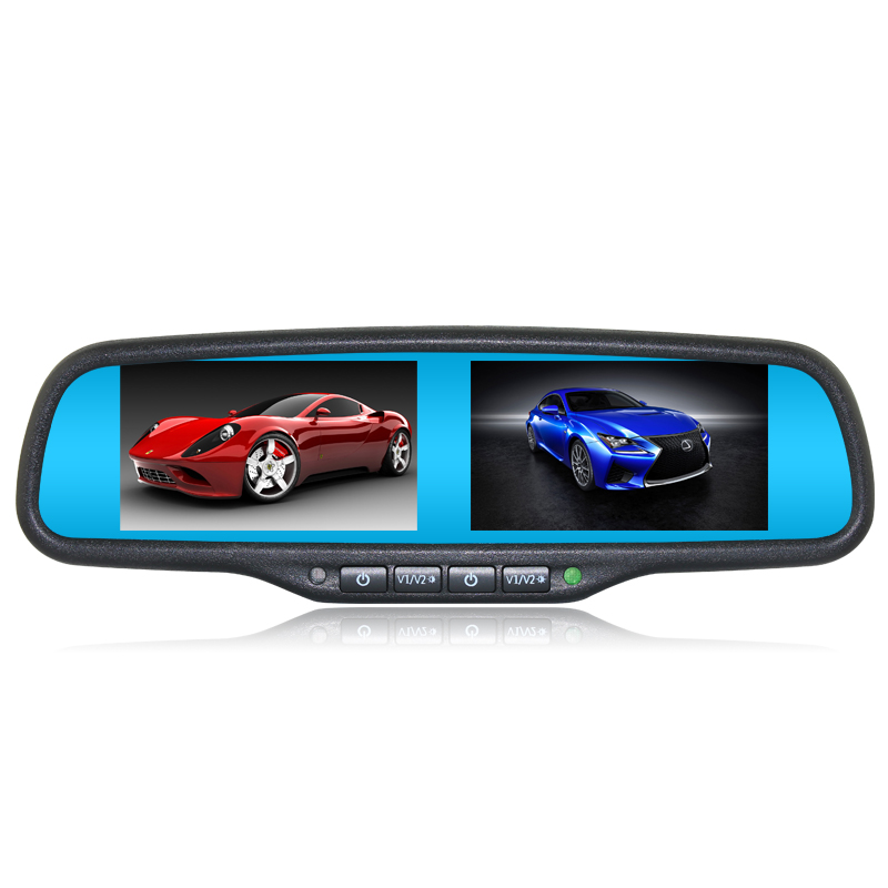 ANSHILONG Car Interior Replacement Rear View Mirror Built in Dual Two <font><b>4.3</b></font> <font><b>inch</b></font> <font><b>TFT</b></font> LCD Monitors +Special Bracket 4CH Video Input image