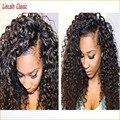 Новый Натуральных волос 7а Необработанные 100 Человеческих Волос Вьющиеся Парики Фронта шнурка Виргинский Бразильский Странный Вьющиеся Парик Фронта Шнурка 130 плотность