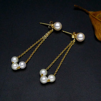 925 silver real natural big 925 silver two long wear round light natural pearls Earrings Handmade Han women jewelry ear