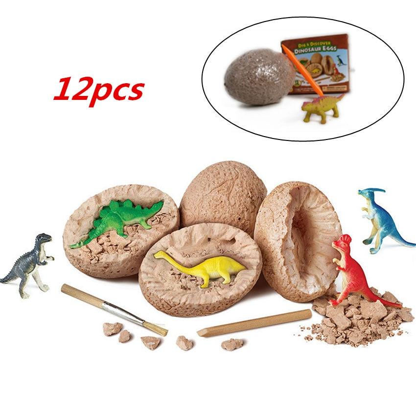 12pcs/set Jurassic Park World Dinosaur Eggs Digging Fossils Excavation Dinosaur Dino Educational Noverity Toys For Children
