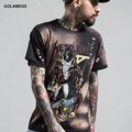 Aolamegs Men T shirt Black Heavy Metal Tshirt The King of Terrors Printed Rock Tee 2017 Spring Summer Cotton Short Sleeved Tops