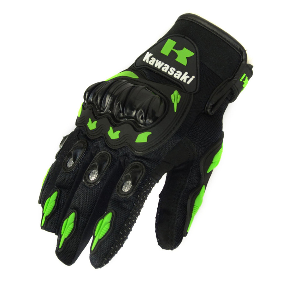 2016 Hot Sale 1 Pair Kawasaki  Fashion New Full Finger Motorcycle Gloves Motocross Luvas Guantes Moto Protective Gears Glove
