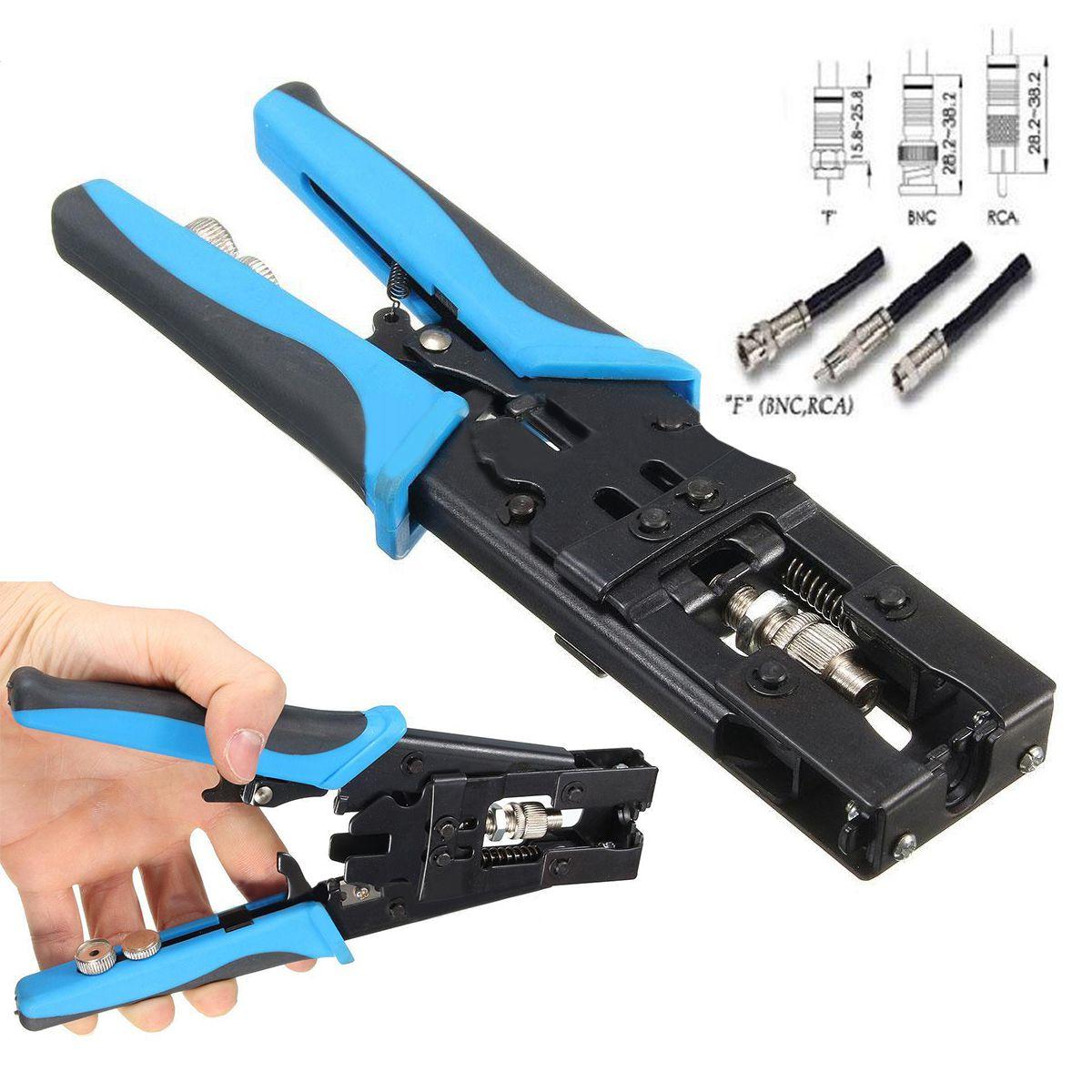 THGS 1pc Durable Coax Compression Crimper Tool BNC/RCA/F Crimp Connector RG59/58/6 Cable Wire Cutter Adjustable Crimping Plier