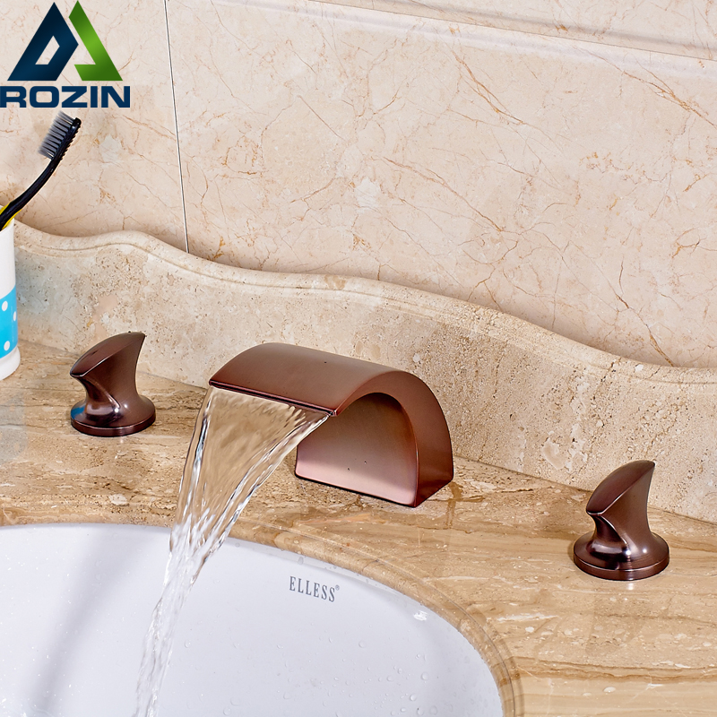 2016 Newly Oil Rubbed Bronze Brass Basin Sink Mixer Taps Bathroom Faucet Waterfall Spout Water Tap Dual Handles new oil rubbed bronze wide waterfall spout bathroom sink basin mixer faucet two handles widespread lavatory sink faucet