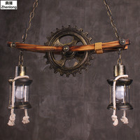 Retro Gear Chandelier Creative Ceiling Lamp Restaurant Cafe Bar Loft Country Industrial Wind Wood Wrought Iron