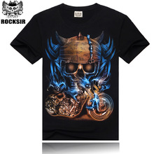 3d print cotton T shirts for men summer top mens oversized skull rock tshirt camisetas hombre