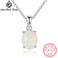 Genuine 925 Sterling Silver Luxury Oval Shape Opal Pendant Necklace Women Birthday Gifts For Wife Dropshipping