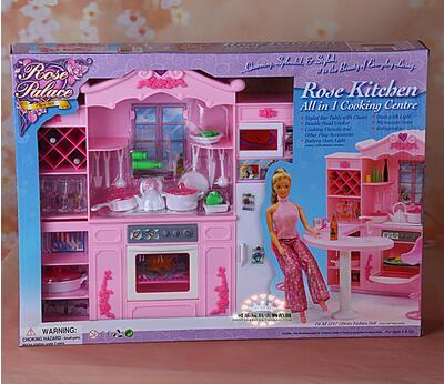 Pour barbie salle à manger barbie cuisine meuble Kit lumières armoires de cuisine salle à manger meubles fille jouets barbie poupée accessoires