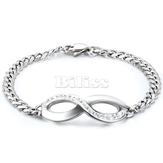 669360d0fd0a € 8.38 7% de DESCUENTO|Pulseras y brazaletes moda 316L Acero inoxidable  plata infinito trenzada cadena brazalete pulseras para mujer 7,9 pulgadas  en ...
