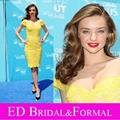 Miranda Kerr Cap Sleeve Short French Lace Cocktail Dress Yellow Short Prom Dress vestido de festa curto