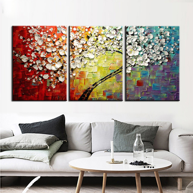 3 piece canvas art diy free shipping multicolor tree landscape canvas piece art abstract modern flower painting picture