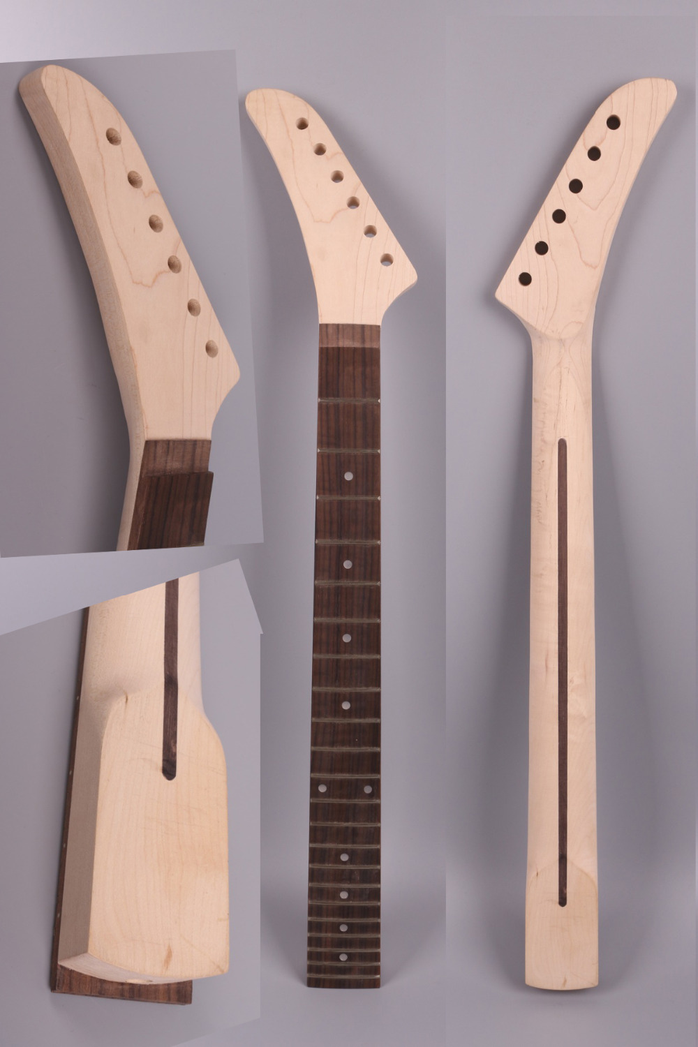 electric guitar neck 25.5 inch 22 fret maple banana headstock rosewood fingerboard Left hand maple guitar neck for electric guitar neck rosewood fingerboard 22 fret white dots acurated heel