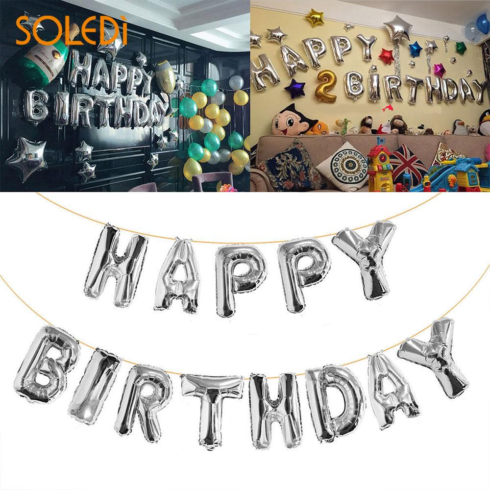 Happy Birthday Balloons 13 Letter Self Inflating Foil Banner Bunting Party Decor