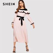 ec651c3ad9 SHEIN Abaya Pink Lace Applique Ruffle Embellished Belted Maxi Dress Women  2019 Spring O-Neck Long Sleeve Vintage Elegant Dresses