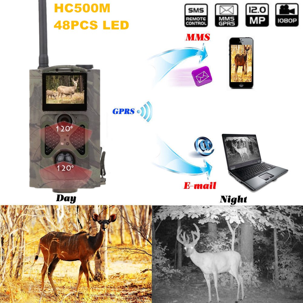 GSM MMS GPRS SMS Control Scouting Infrared Trail Hunting Camera  Infrared Night Vision HC500M Hunting Trail Camera hc500m hd gsm mms gprs sms control scouting infrared trail hunting camera with 48pcs ir leds night vision wildlife surveillance