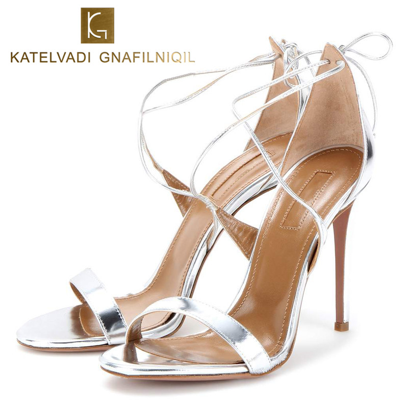 Brand Sandals Women 10CM High Heels Silver Summer Shoes Sexy Lace Up Sandals Women Patent Leather Ladies Sandals Woman K-023 summer sandals women high heels wedding shoes sexy sandals women black patent leather brand sandals woman chaussure femme k 022