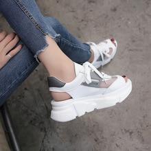 2018 poletne debele podplate ženske sandale Roma visoke pete Ulzzang sandale na platformi ženska mreža usnjene dihalne ženske sandale za na plažo