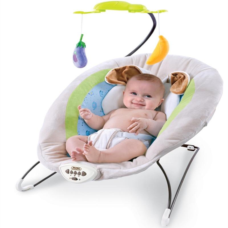 Новинка 2017 года серый ребенок электрическая кресло качалка с кроликом Подушки детские дети успокаивающим вибраций музыка качания Батуты и