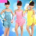 Novo 2016 Crianças Crianças Azul Amarelo Rosa Competição Palco Trajes De Dança Franja/Borla Latina Vestido para As Meninas