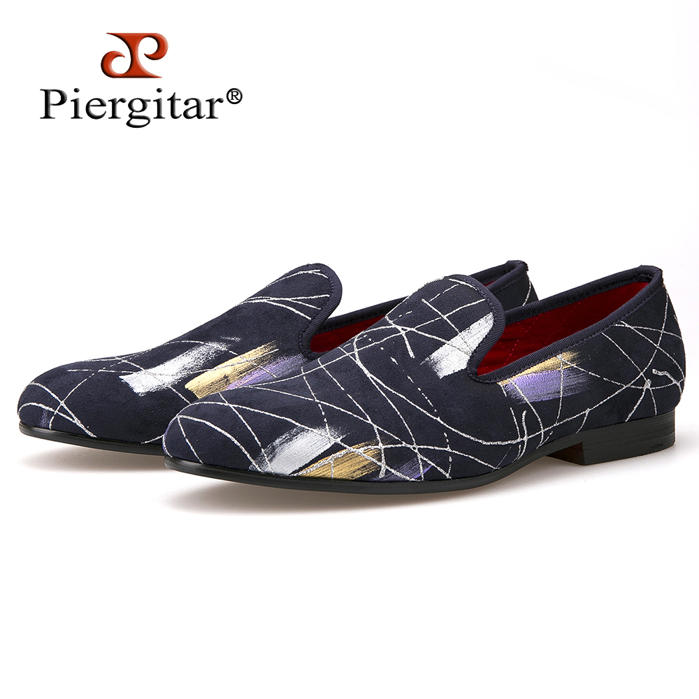 Piergitar Luxury Handmade ink painting style Men casual shoes Men Plus Size Loafers Men's Flats Size US 4-14 Free shipping men denim shoes piergitar new fashion star men loafers navy blue plus size men s flats size us 4 17 free shipping