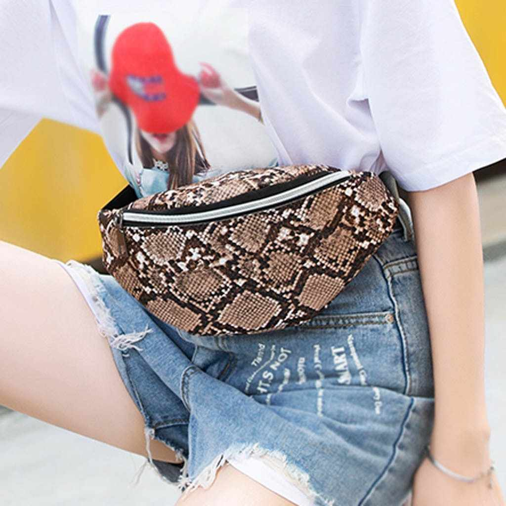 Serpentine Pattern Crossbody Bags for women Fashion Lady Shoulders Waist Pack Letter Purse Mobile Phone Bag sac a main femme
