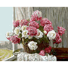 Pink White Flowers DIY Painting By Numbers Modern Handpainted Oil Wall Art Picture Drop Shipping Paint Gift