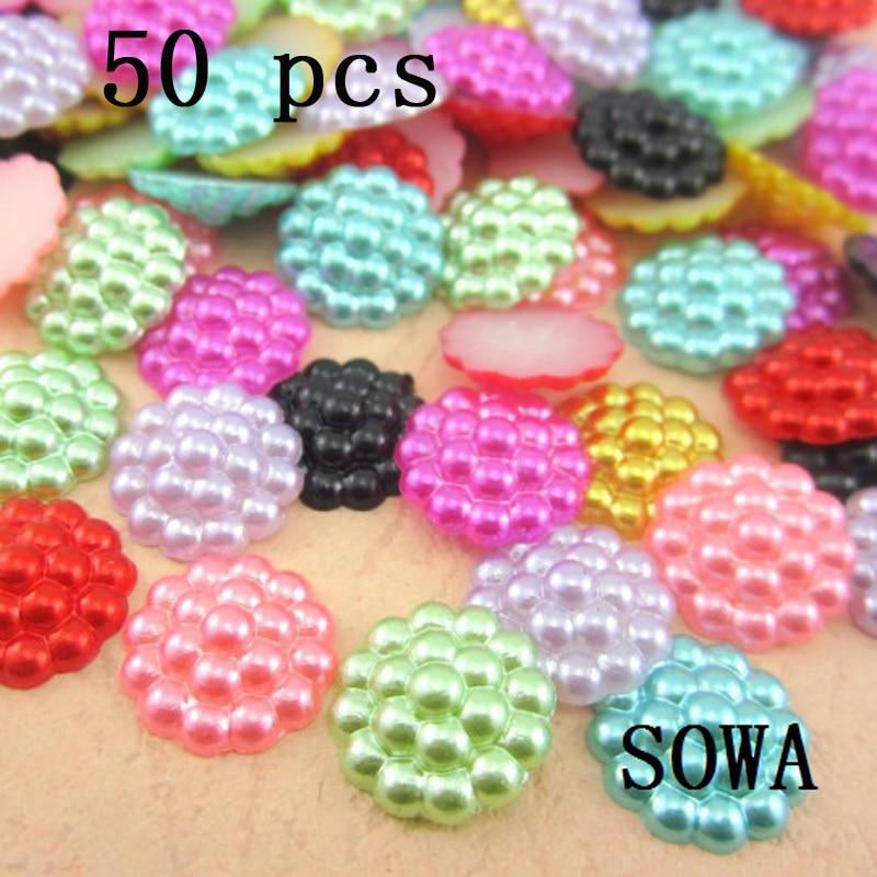 Free Shipping 50Pcs/lot 13mm Imitation Pearls Beads Half Round Flatback Sunflower Stamens Wedding Cards DIY Decoration