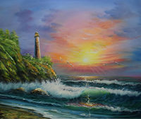رسمت باليد الحديثة المناظر البحرية النفط الطلاء على قماش البحر موجة شروق اللوحة جدار الفن صور لغرفة المعيشة