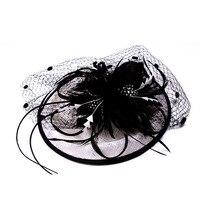 Kadın Fascinator Çiçek Tüy Bandı Hairclip Vintage Fransız Peçe Kokteyl Şapka Parti Gelin Saç Aksesuarları FS99