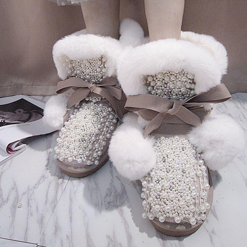 Bottes Perlé Belle Fourrure Chaud Pom Blanc Bout Chaude Neige Pictures D'hiver Filles Rond Décorations Dentelle As De Vente up Perles Ax8fwqZYwn