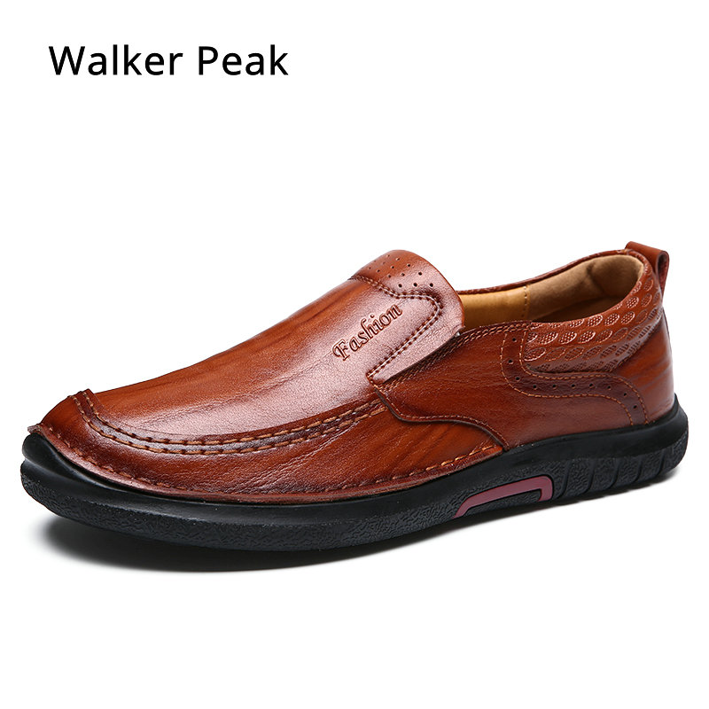 Men Loafers Genuine Leather Business Flat for Mens Shoes Slip on Boat Shoe Moccasin Breathable 2019