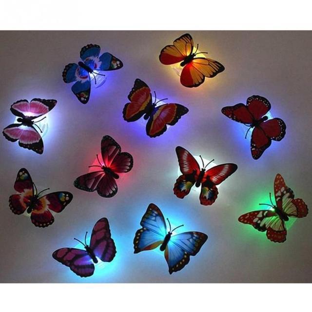 10 sztuk ABS piękny motyl lampa LED Night Light z przyssawka Multicolor wyślij losowo