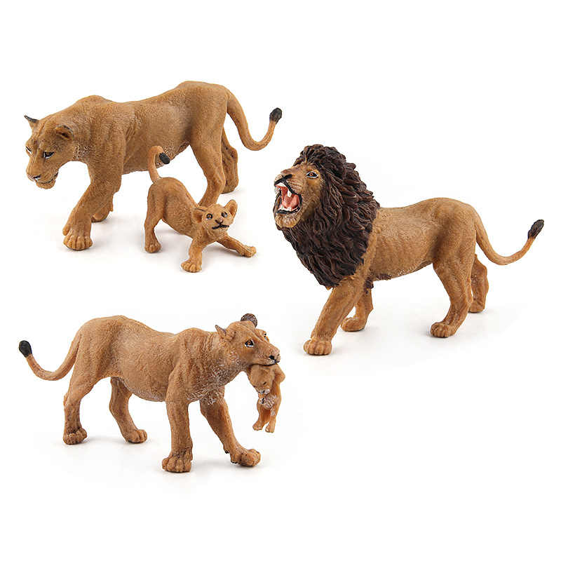 Simulação selvagem leão modelos animais brinquedo de plástico leoa figuras animais decoração para casa presente para crianças estatueta bonecas decoração do quarto