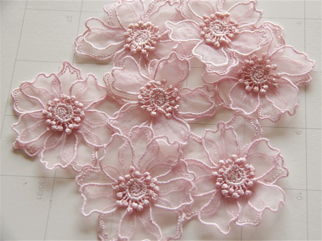 30pc 6 5cm 3d Embroidered Flower Patch Fabric Flowers Applique     30pc 6 5cm 3d Embroidered Flower Patch Fabric Flowers Applique Patches For  Clothing Clothes Parches Bordados