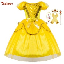 Girls Princess Belle Dress up Costume Kids Cake Dress Yellow Party Dress Children Girl Carnival Xmas Birthday Ball Gown Vestidos high quality lace girl dresses children flower princess dress big girl ball gown baby kids wedding costume birthday vestidos