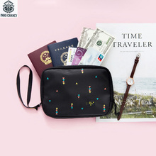 INHO CHANCY Polyester Printing Floral Travel Document Storage Bag Family Passport Wallet Card Holder Portable Travel Accessories