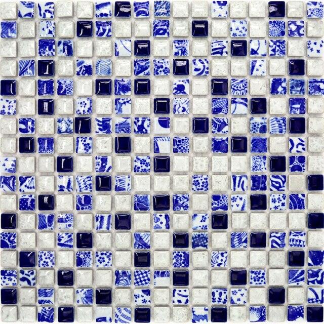 Italia cerámica mosaico elegante porcelana azul y blanca de ...