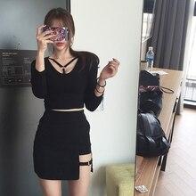 Корейский стиль черный пакет бедра Saia Юбки зазор асимметричный подол карандаш микро мини-юбка