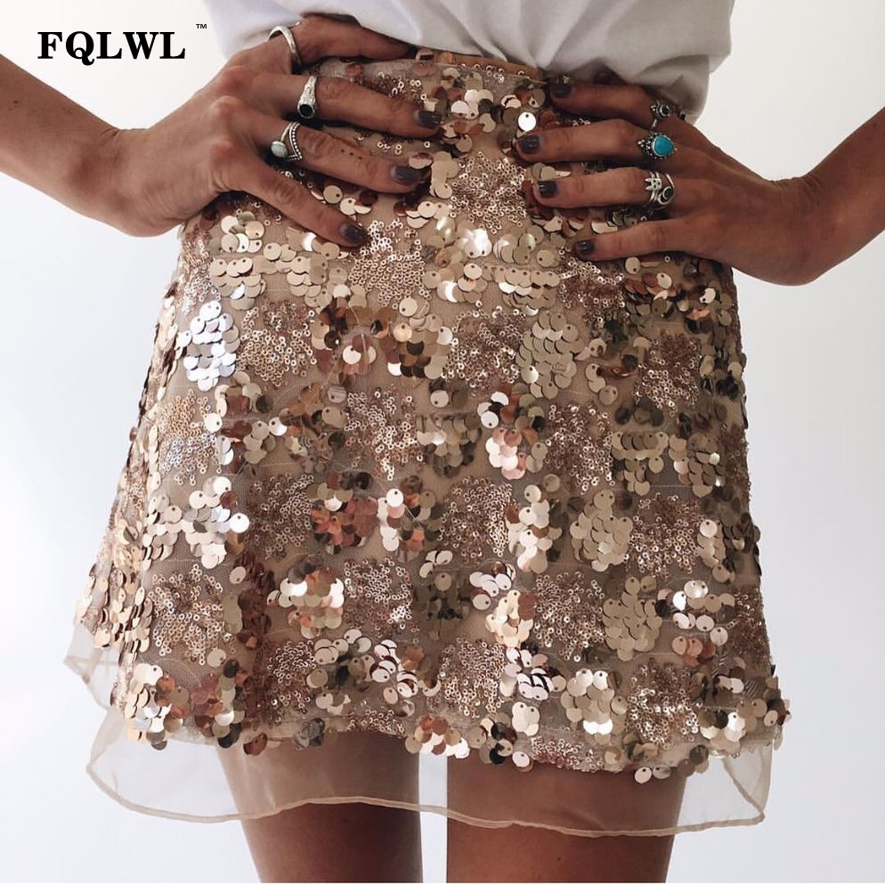 e575c08d FQLWL Mesh Sequin Polka Dot Skirt Women Zipper Gold Sliver Glitter Short  Pencil Skirts Plus Size