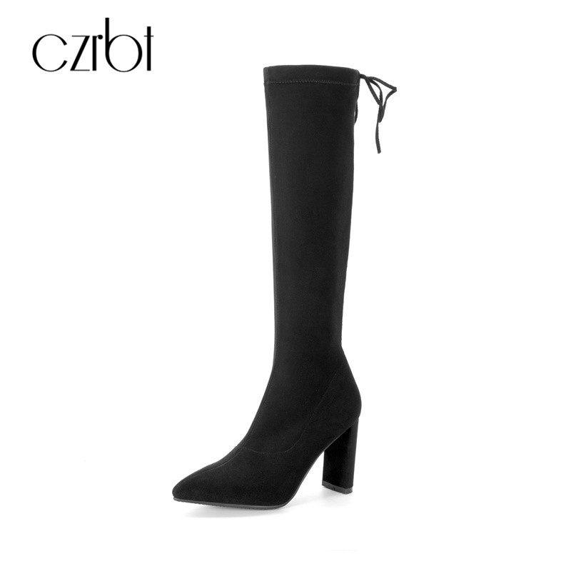 CZRBT Top Quality Stretch Fabric Women Knee-High Boots For Winter 100% Handmade High Heels 8cm With Natural Leather Suede