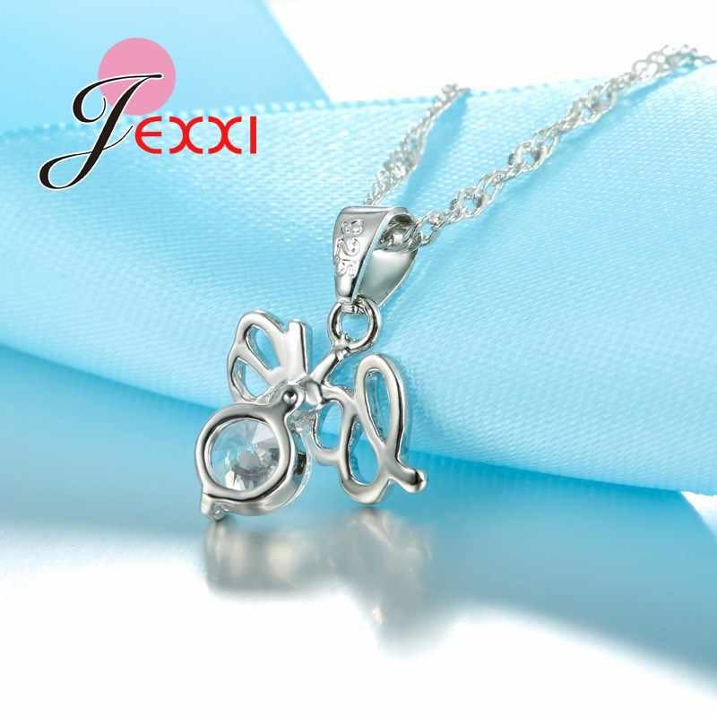 Weihnachten Geschenk Liebe Brief Kristall 925 Sterling Silber Halsketten Ohrringe Schmuck Set Für Frauen Mädchen