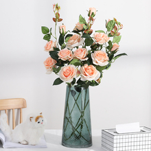 yumai 1pc 3 head 95cm Long Stem Roses Flowers Artificial Branch Flannel Red Roses for Wedding party Wreath Decoration no red roses