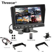 7'' Split Screen Car Monitor 4CH Video Input Parking Dashboard Monitor for RV Truck Bus Parking Assistance System