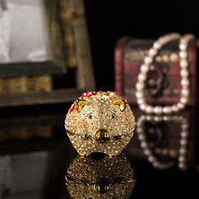 Купить с кэшбэком Qifu Handicraft cute pig fill of diamonds metal  jewelry box