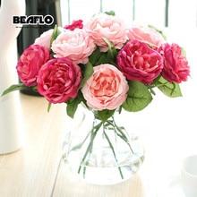 1pc Flori artificiale Bijuterii trandafiri proaspete Flori de mătase cu frunze vii pentru decorațiuni interioare