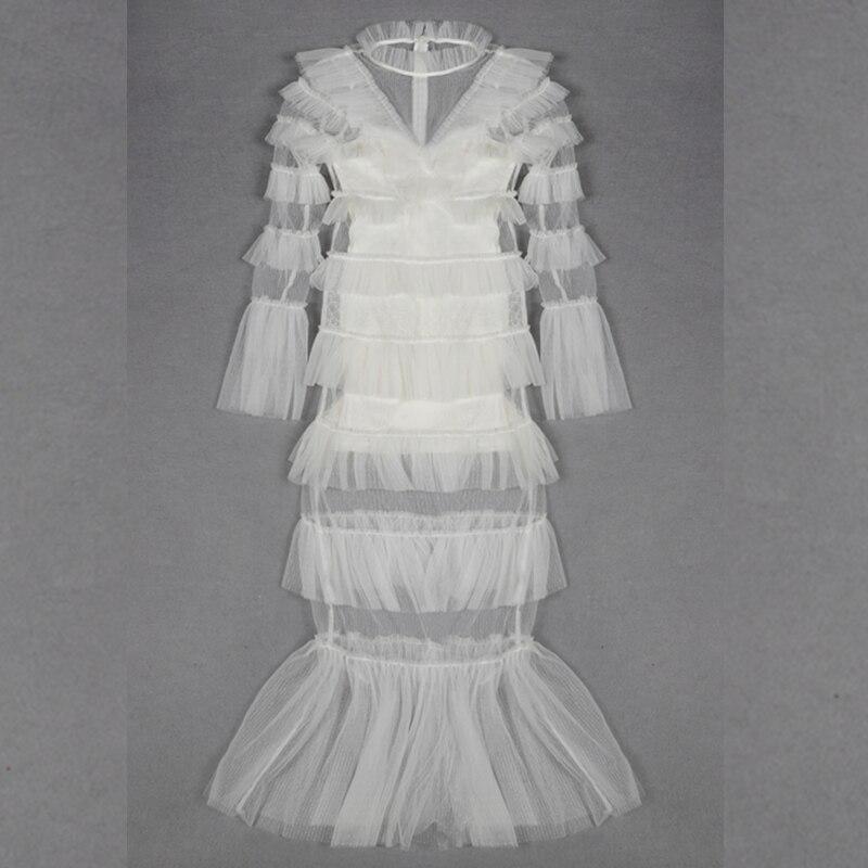 Femmes Célébrité 2019 Automne Blanc Mode D'entraînement Longues De Out Robes Soirée Creux Mwsh Manches Chaussures Sirène Sexy À Ruches rOrgqT